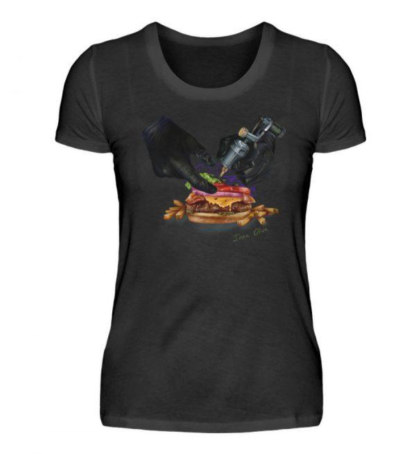 Tattooing Burger by Inna Oliva - Damen Premiumshirt-16